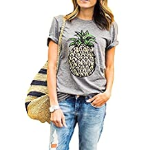 ClothingLoves Women's Pineapple Print Cotton Tank Tops