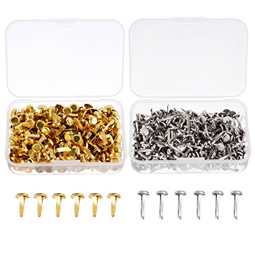 Shappy 500 Pieces Paper Fasteners Brass Plated Scrapbooking Brads Round Metal Brads with Storage Box for Crafts Making DIY, Gold and Silver