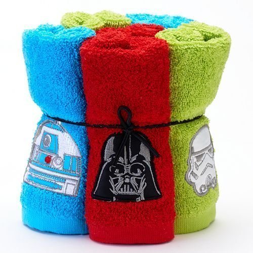 Disney Six Piece Star Wars Soft Terry Cotton Bathroom Washcloths 6-Set 5850519