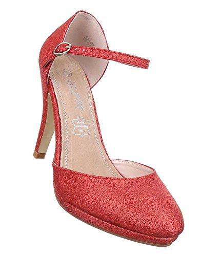 855f0b7af9a0 Damen Pumps Schuhe High Heels Stiletto Abendschuhe Club Party Stiletto Mit  Riemchen Schwarz Elfenbein Rot Silber
