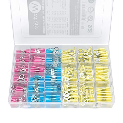 540 PCS Wirefy Heat Shrink Wire Connectors - Electrical Terminals Kit - Marine Automotive Crimp Connector Assortment - Ring Fork Hook Spade Butt Splices (Amplifier Connectors)