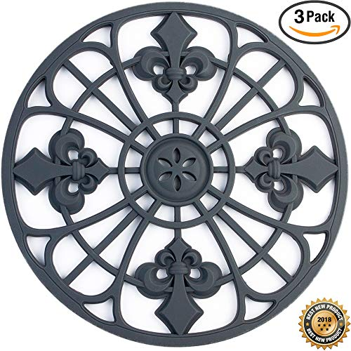 Silicone Trivet Set For Hot Dishes | Modern Kitchen Hot Pads For Pots & Pans | Fleur De Lis Design (Symbol of Royalty) Mimics Cast Iron Trivets (7.5
