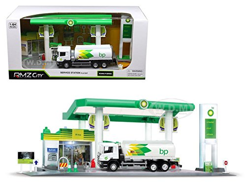 NEW 1:64 RMZ CITY DIORAMA COLLECTION - BP SERVICE STATION WITH TANKER PLAY SET Model Car By RMZ City