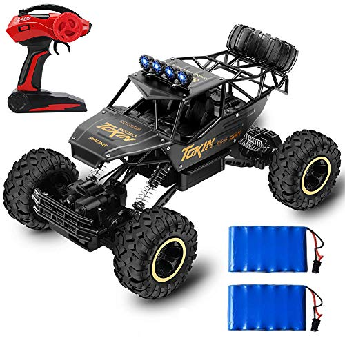 RC Car 4WD Off Road Vehicle 2.4Ghz Remote Control Car 1:12 RC Monster Truck Rock Crawler Off Road Vehicle Toy, Oversize Electric RC Car with 2 Rechargeable Battery Pack & 2 Dry Batteries & Screwdriver