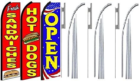 Fresh sandwiche hot dogsOpen King Swooper Feather Flag Sign Kit with Pole and Ground Spike Pack of 3