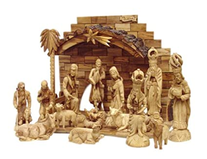 Large Nativity Set Intricately Hand Carved From Olive Wood From The Holy Land