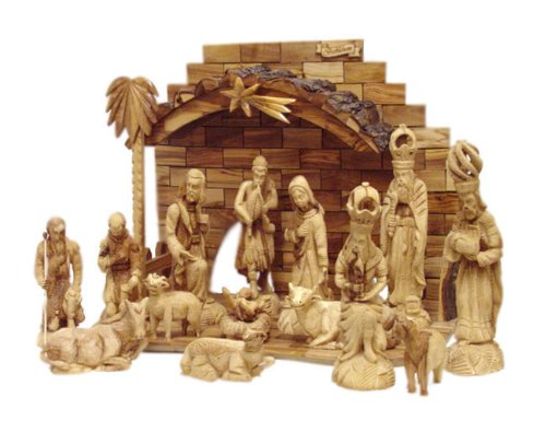 Olive Wood King's Nativity Set (15 Pieces Set) by Holy Land Imports