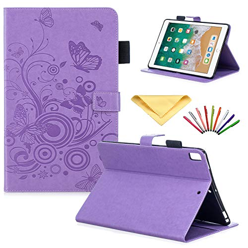 Uliking Wallet Case for Apple iPad 9.7 2018 2017 (iPad 5th/6th Gen)/ iPad Pro 9.7 2016/iPad Air/Air 2, Folio Stand Cover Embossed Flower PU Leather TPU Shell with Pencil Card Holder, Purple Butterfly