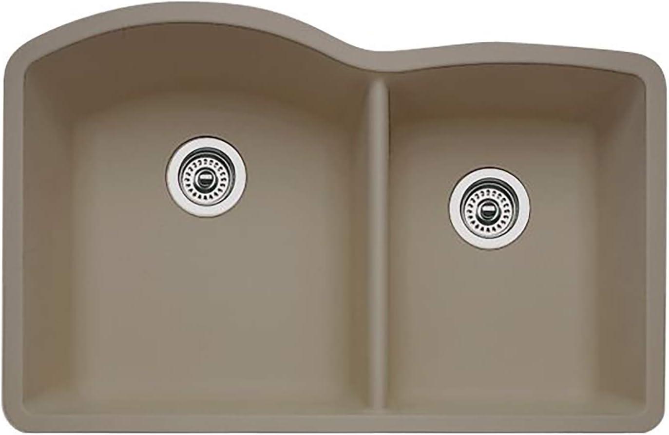 Blanco Truffle 441284 Diamond Silgranit 60 40 Double Bowl Undermount Kitchen Sink 32 X 21 Sink Strainers Amazon Com