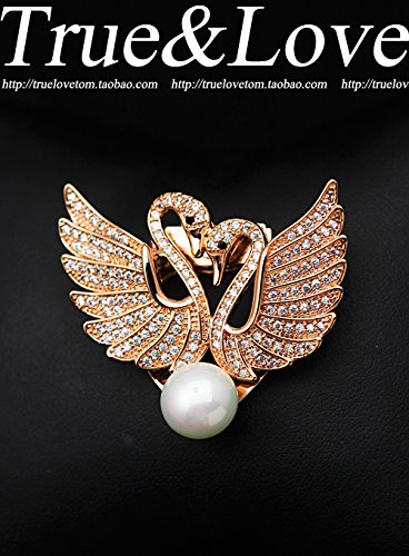 Brooch 18k Cameo (18k gold plated swan size zircon crystal clear water color small pearl brooch pin brooch pin scarf buckle gift)
