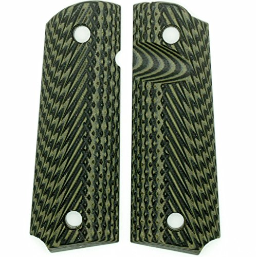 StonerCNC Browning 1911-22 Gun Grip G10 Double Taps fits 1911-22 & 380 Auto Pistols 85% Frame (OD Green Black)