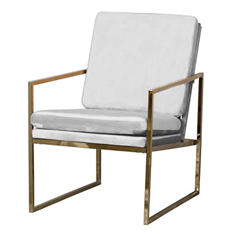 Mr Do Samt Sessel Hellgrau Grau Stuhl Loungesessel Armlehnenstuhle Polsterstuhl Skandinavisches Design Kupfer Blick Messing Plattiert Gold Finish