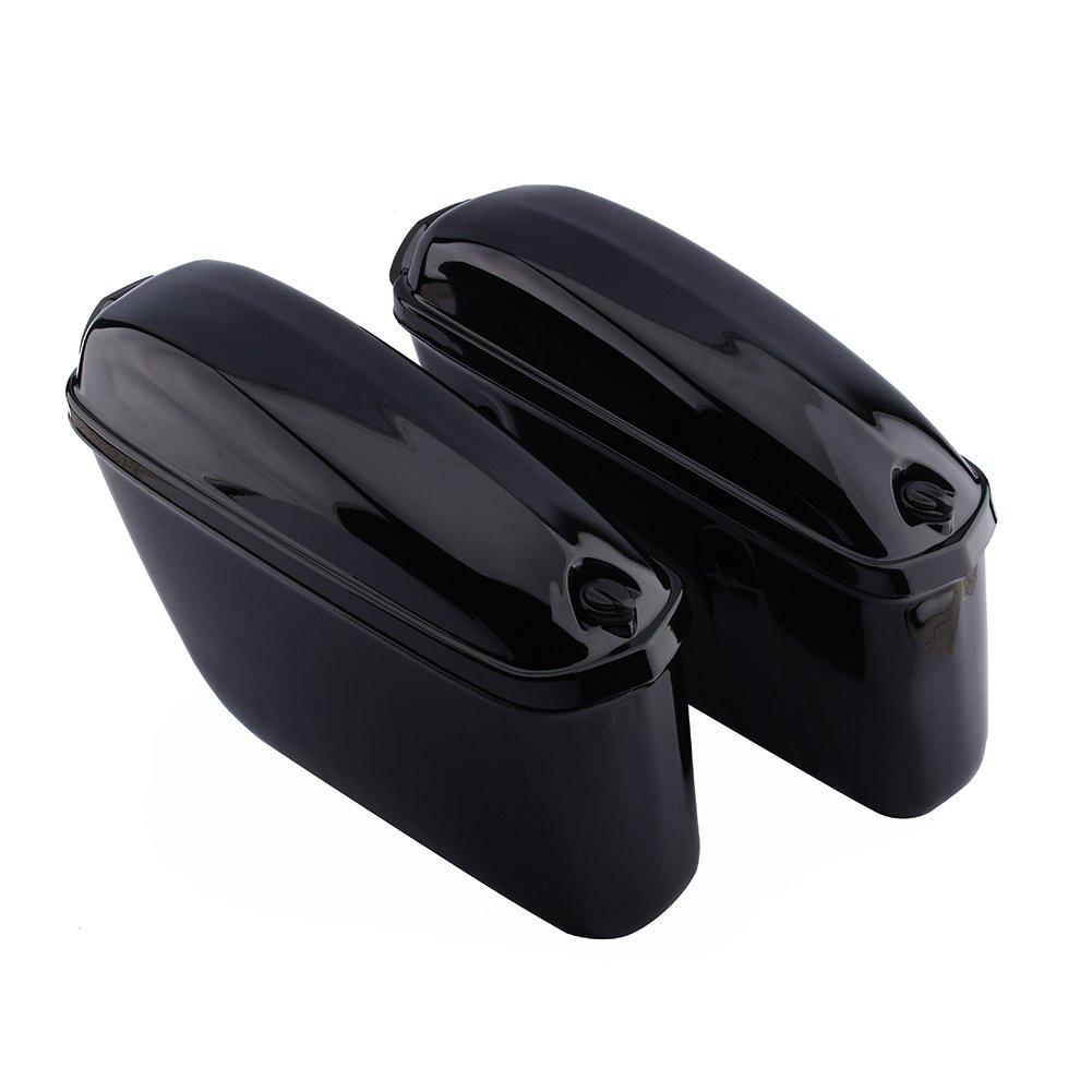 F FIERCE CYCLE Motorcycle Saddlebags Waterproof Leather Luggage Side Bag Black