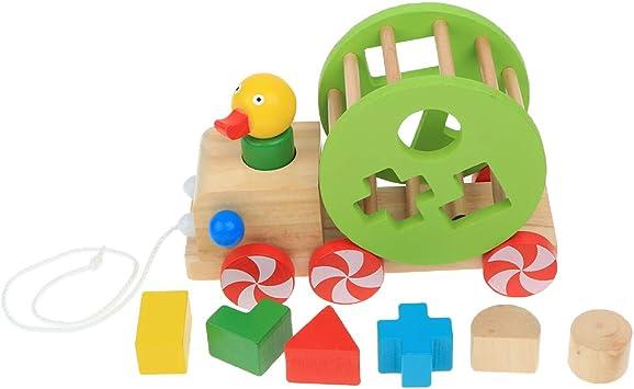 CUTICATE H/ölzernes Entenauto Kleinkind Gehendes Zug Entlang Toy Pull Und Sto/ß Tierfahrzeug Geometrisches Form Sortierer Auto