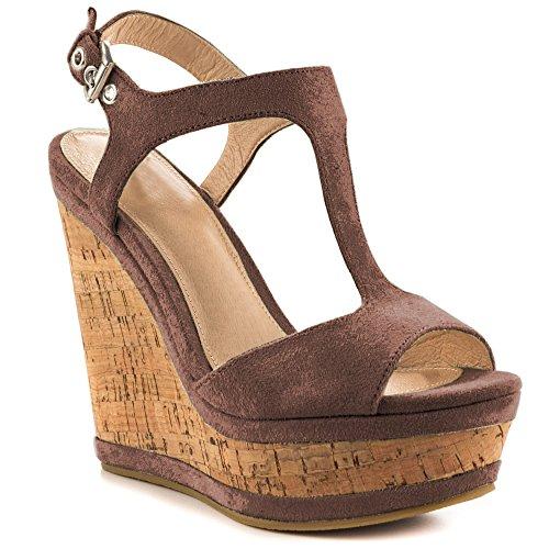 EKS Damen Peep Toe Fesselriemen Wedges Sandals High Heels T Strap Keilabsatz Sandalen Damenschuhe EU 35-46 Dunkelbraun