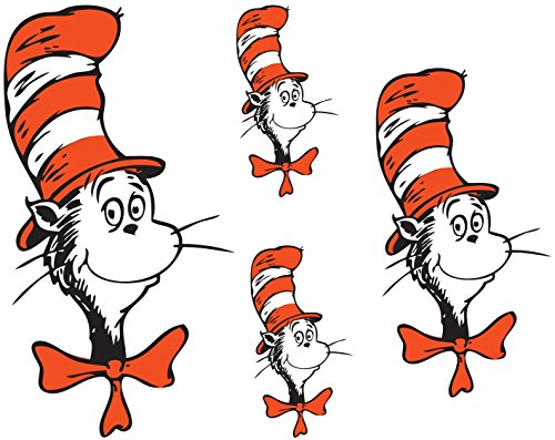Dr. Seuss - Cat in Hat - For Light-Colored Materials - 4 Iron On Heat Transfers