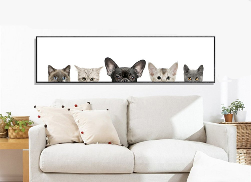 Be Good Wall Art Cute Animals Peeping Dog and Cat Oil Painting Contemporary Decoration Wall Decor for Living Room Bedroom Home Decor Hotel Office Gift Piece 47x12 Inch