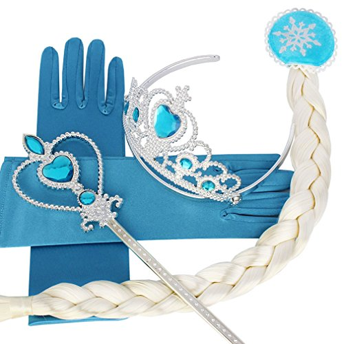 Halloween Girl Snow Queen Princess Crown Hair Piece Wand Gloves (Snow Princess Halloween Makeup)