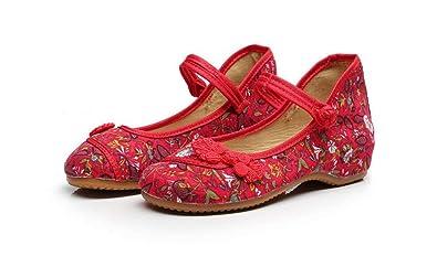 6c15ce844f Gusha Classic peas Shoes Flat Women's Shoes Comfortable Linen Canvas  Shoes(Red 34/3