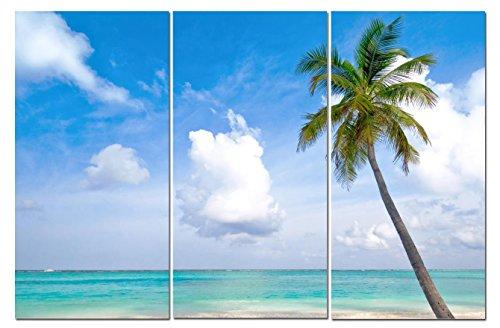 Canvas Wall Art Decor   12X24 3 Piece Set  Total 24X36 Inch  Blue Palm Tree Beach   Decorative   Modern Multi Panel Split Canvas Prints For Dining   Living Room  Kitchen  Bathroom  Bedroom   Office