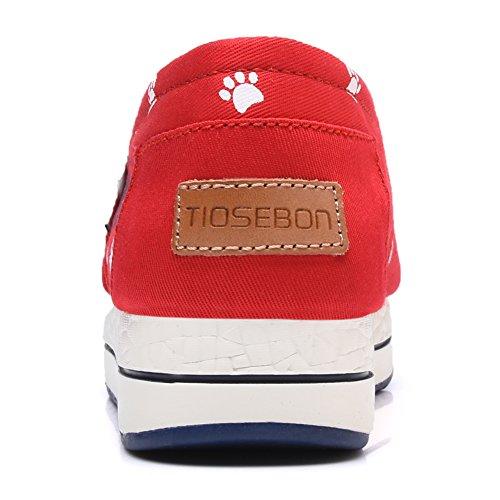 Toile Tiosebon Femme Slip-on Toning Chaussure Marche Sneaker 6602 Rouge