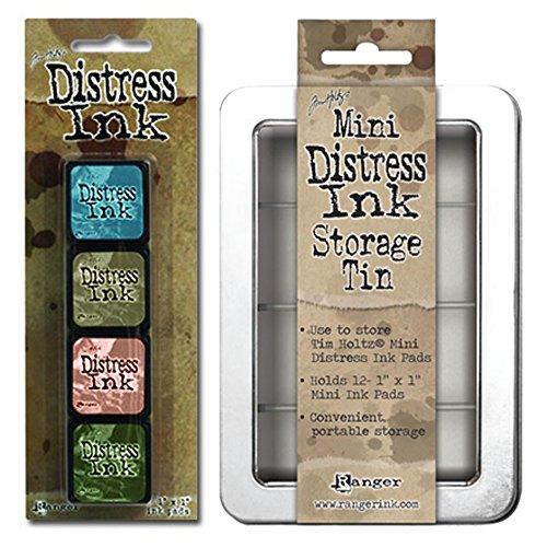 Distress Ink Frayed Burlap (SPECIAL BUNDLE Includes: Ranger Tim Holtz Mini Distress Ink Pads Kit #9 PLUS Distress Mini Ink Storage Tin)