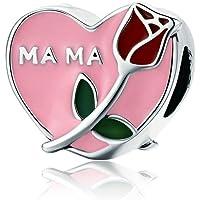 GaLon En forma de corazón de Rose del día sueltas perlas de la madre S925 plata a mano bricolaje señoras colgante de…