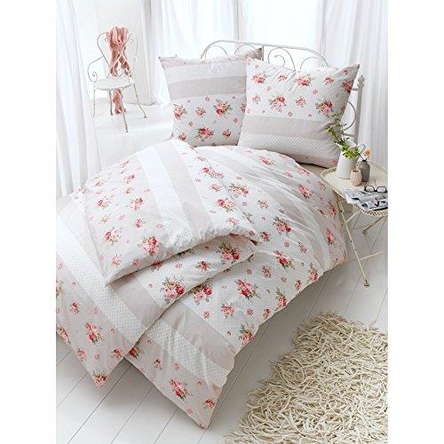 Bettwäsche Rosen mit Reißverschluss 100% Baumwoll-Satin Rosa 135 x 200 cm