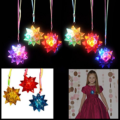 Game Pendant - dazzling toys Necklaces LED Blinking Crystal Star Necklace Glow Toy Flash Lights,Red, Blue, Green, Yellow,Set of 24