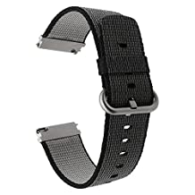 TRUMiRR 22mm Genuine Nylon Watch Band Quick Release Strap for Samsung Gear S3 Classic Frontier, Gear 2 Neo Live, Moto 360 2 46mm, Asus ZenWatch 1 2 Men, Pebble Time, LG G Watch Urbane