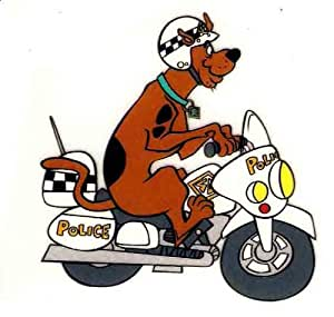 Scooby Doo Shaggy's pet police dog on motorcycle with helmet  Heat Iron On Transfer for T-Shirt
