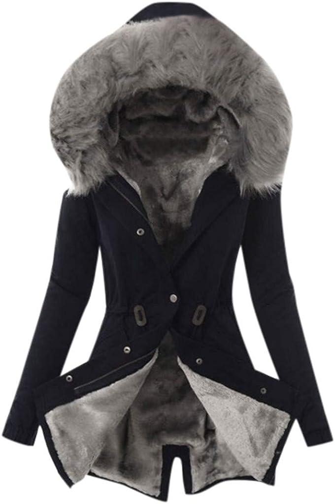 Womens Hooded Down Coats Fleece Line Parkas Faux Fur Jackets with Pockets Warm Winter Mid Length Windbreaker Limsea