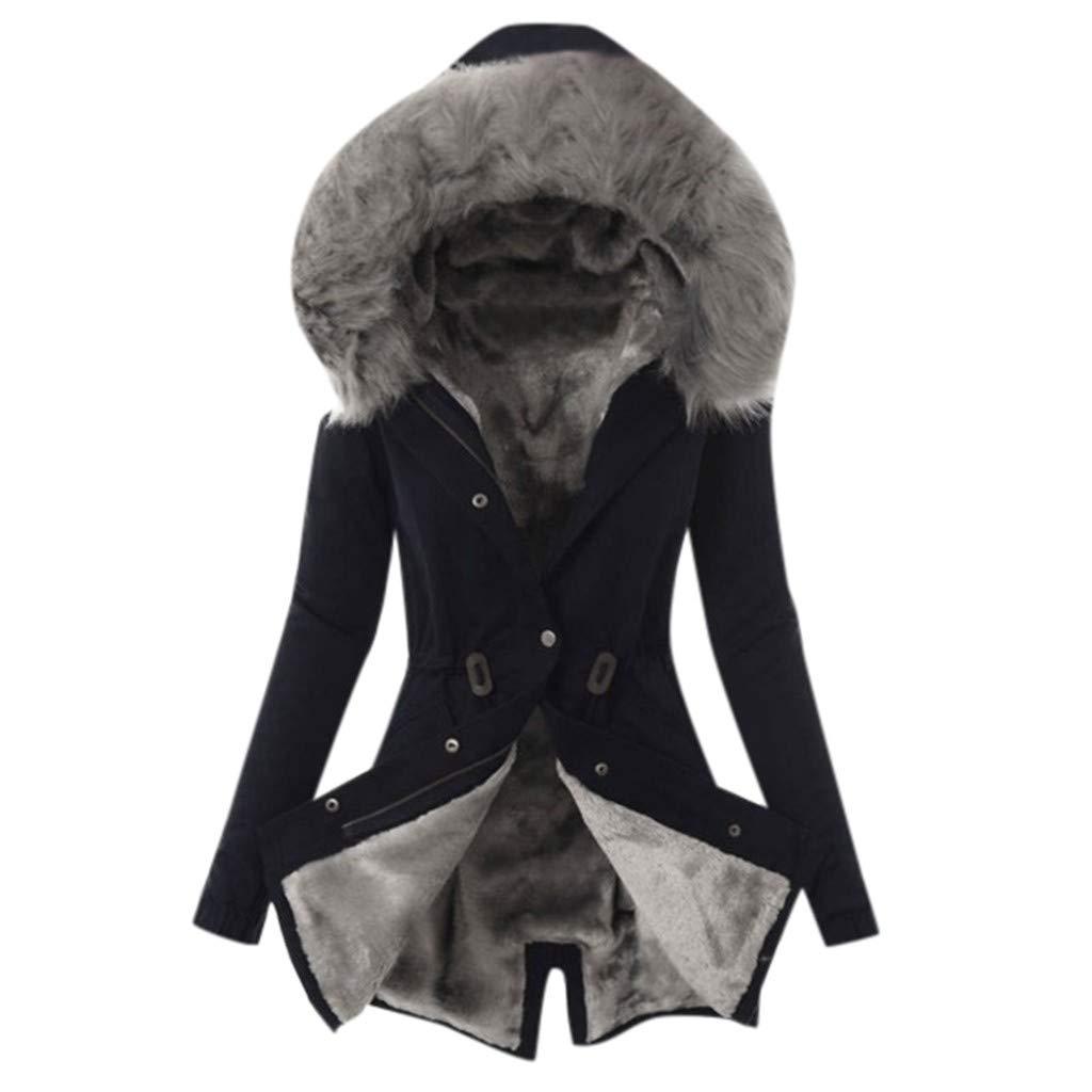 Dainzuy Womens Hooded Faux Fur Outwear Jacket Warm Winter Thicken Fleece Lined Parkas Coat Long Outwear Coats Black by Dainzuy Womens Outerwear
