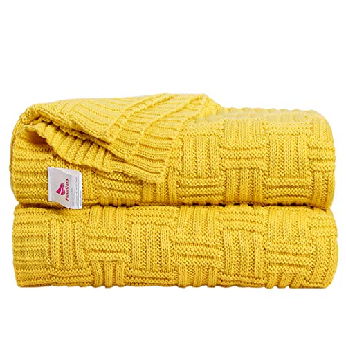 uxcell Knitted Throw Blanket for Sofa and Couch,Soft 100% Cotton Home Blanket,Lightweight Cable Cross Knit Blanket - Yellow, 50