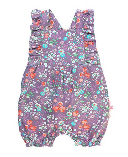 RuffleButts Baby/Toddler Girls Floral Cross-Back Pinafore Bubble Romper with Ruffles - 0-3m