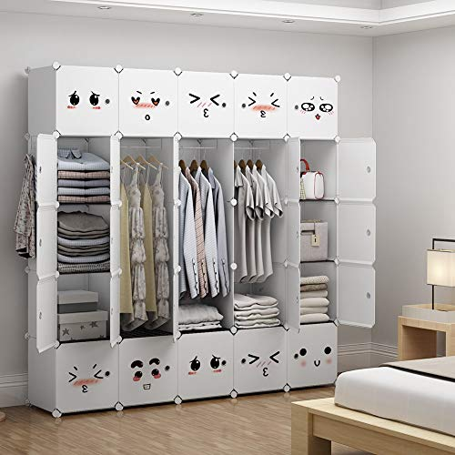 - GEORGE&DANIS Portable Closet Plastic Dresser for Kids Teenagers Modular Wardrobe Cube Storage Organizer Book Shelf Toy Cabinet, White, 14 inches Depth, 5x5 Tiers