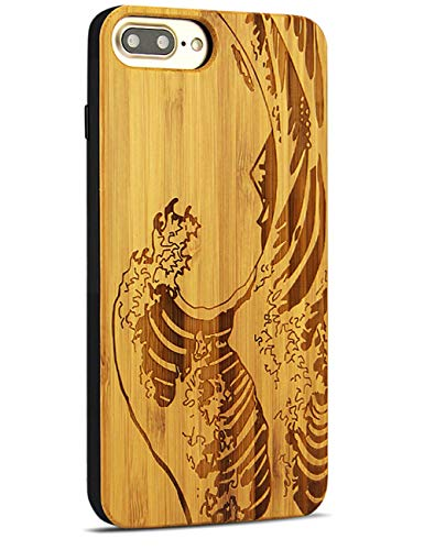 YFWOOD Compatible for iPhone 8 Plus Case Wood, Real Bamboo Engraved Wave Design Thin Slim Heavy Duty Shock Absorption Protection for iPhone 7/8 Plus Case