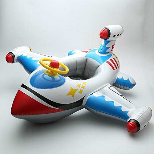 Inflatable Airplane Motorboat Baby Kids Swimming Float Seat Boat Pool Ring-White airplane by F-sport Airplane Floats