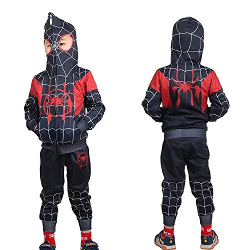 Kids Spider-Verse Miles Morales Gwen Stacy Noir Peter Cosplay Costume (Ultimate Spider Miles Morales, 3T) ()