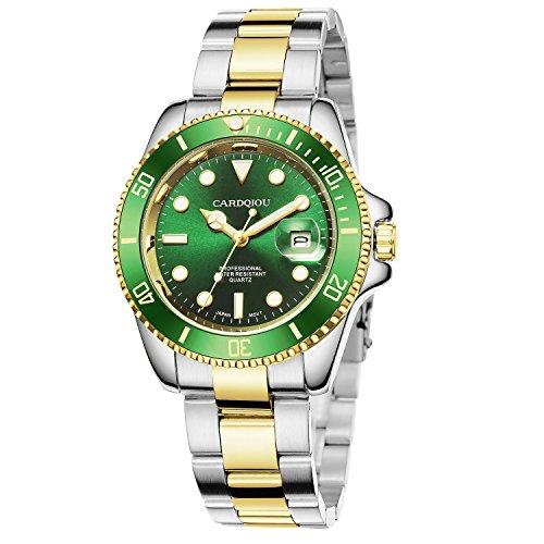 - CARDQIOU Mens Watch Clearance Luminous Date Quartz Waterproof Steel Wrist Gold Watches for Men [Gold+Green]