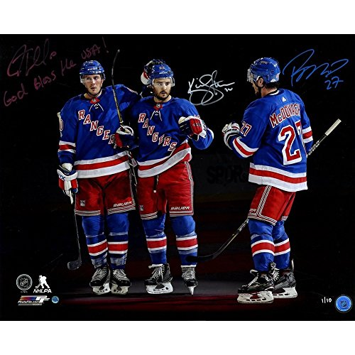 JT Miller/Kevin Shattenkirk/Ryan McDonagh Triple Autographed Signed and Inscribed God Bless the USA! Autographed Signed in Red White and Blue Goal Celebration 16x20 Photo L/E 10 - Authentic Signature ()