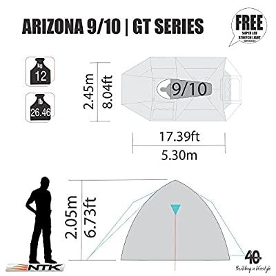 NTK Super Arizona GT up to 12 Person 20.6 by 10.2 by 6.9 Height Foot Sport Family XL Camping Tent 100% Waterproof 2500mm Tent