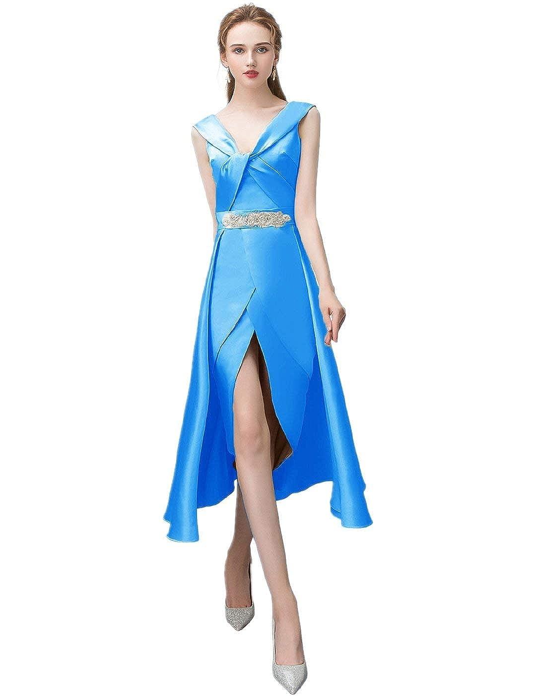 bluee Anshirlisa Women's Sleeveless Credver Pleat HighLow Satin Gown Dress