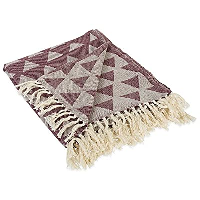 """DII Decorative Woven Throw with Fringe, Blackberry Triangle - CONSTRUCTION - Throw measures 50 x 60"""", 100% Cotton QUALITY IN THE DETAILS - Modern Patterns with a decorative fringe for the perfect finish that won't unravel in the wash FITS THE RUSTIC, VINTAGE, OR DISTRESSED LOOK - This throw has a very chic and trendy look, throw over a couch or chair to add a splash of color and provide warmth on a cold night - blankets-throws, bedroom-sheets-comforters, bedroom - 51BgdG1Am6L. SS400  -"""