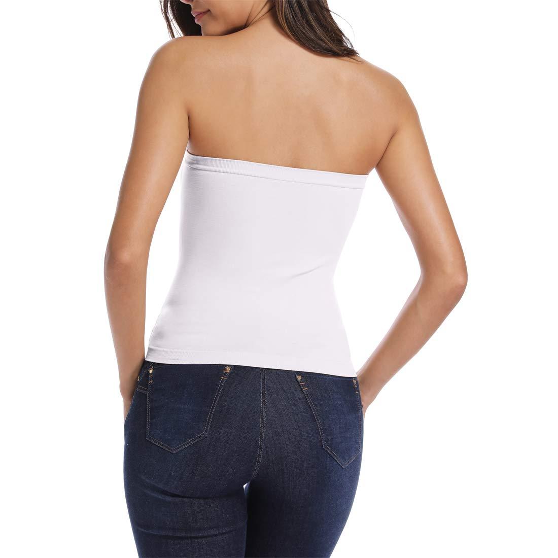 Joyshaper Medium Length Bandeau Bra Top Strapless Tube Top for Women Cropped Tube Tops Seamless Crop Tops