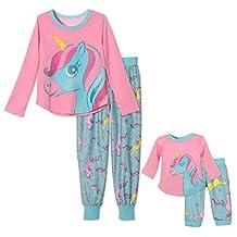Me and My Dream Doll Matching 2 Piece Pajama Set Unicorn, Kids Sizes 4-16