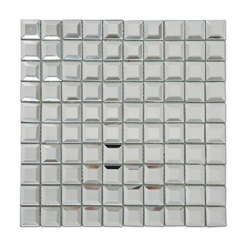 Soulscrafts Beveled Crystal Mirror Glass Mosaic Tile Crystal Diamond Mosaic Tile 12x12 -