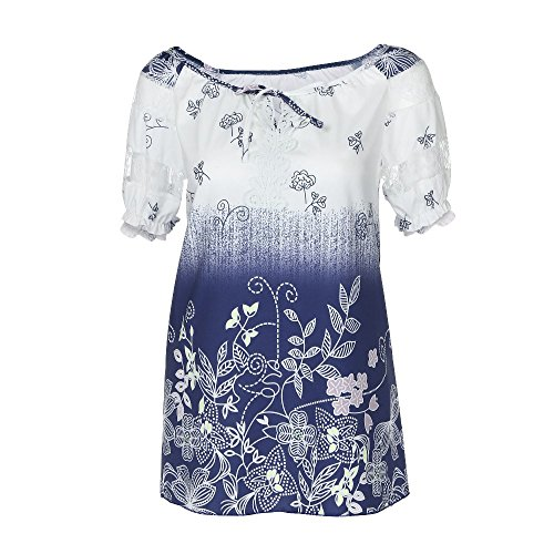 (Women's Summer Lace Tops,Cinsanong Sales! Ladies Printed Short Sleeve Loose T-Shirt V-Neck Pacthwork Fashion Blouse White)
