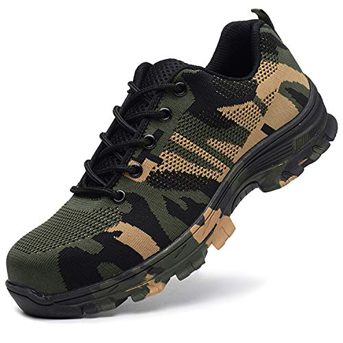 JACKSHIBO Steel Toe Work Shoes for Men Women Safety Shoes Breathable Industrial Construction Shoes Camouflage Green 11 M Women/9.5 M Men (Duty Heavy Shoes)