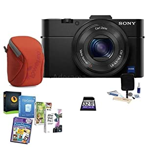 Sony Cyber-shot DSC-RX100 II Digital Camera - BUNDLE - with 32GB SDHC Card, Camera Case, Lens Cleaning Kit, Software Package